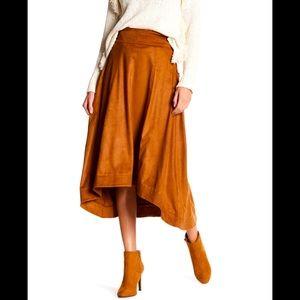 Faux Hi Lo Suede Skirt